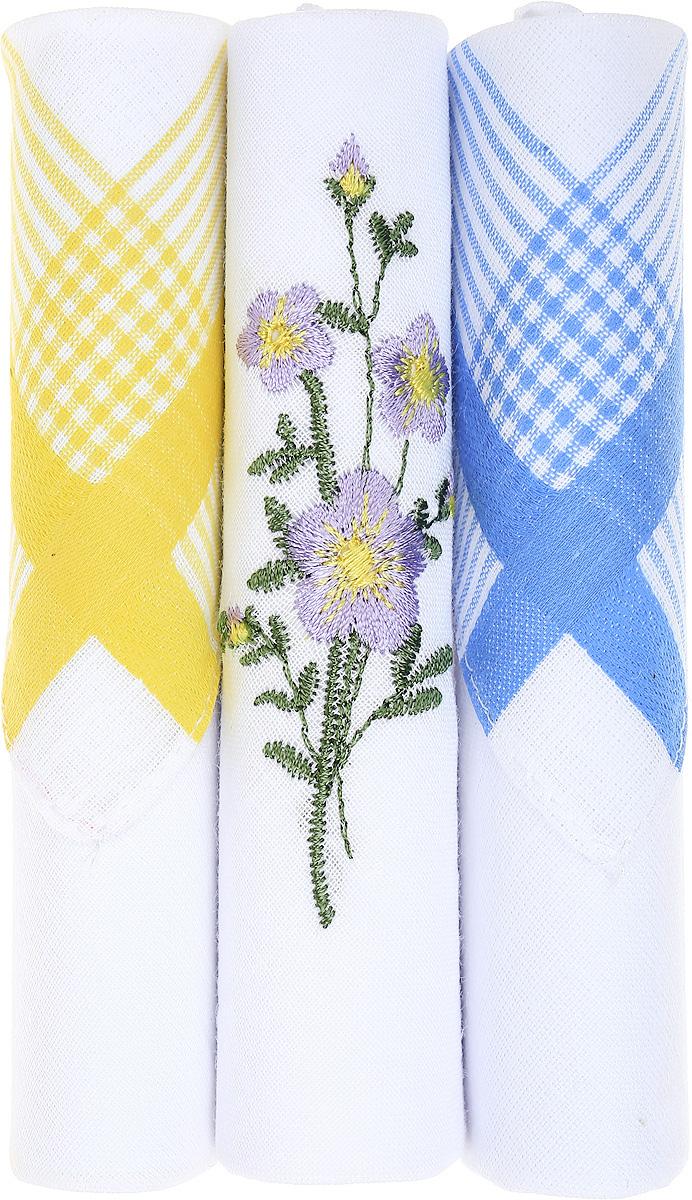 Платок носовой женский Zlata Korunka, цвет: желтый, белый, голубой, 3 шт. 40423-110. Размер 28 см х 28 см
