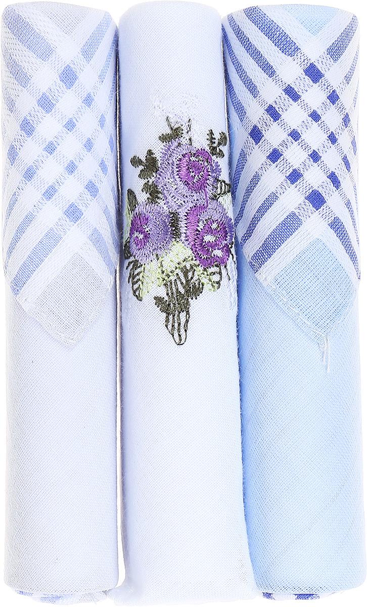 Платок носовой женский Zlata Korunka, цвет: голубой, белый, 3 шт. 40423-9. Размер 28 см х 28 см