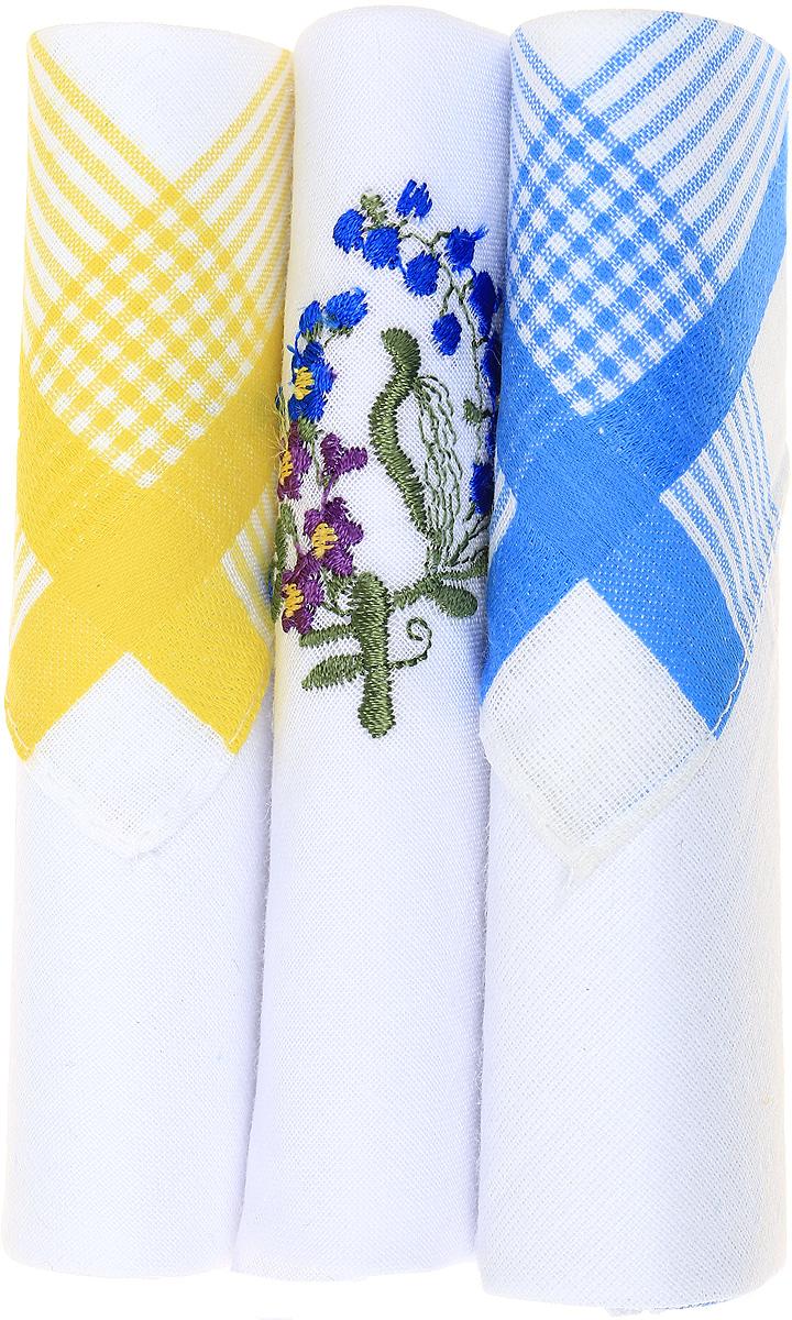 Платок носовой женский Zlata Korunka, цвет: желтый, белый, голубой, 3 шт. 40423-81. Размер 28 см х 28 см
