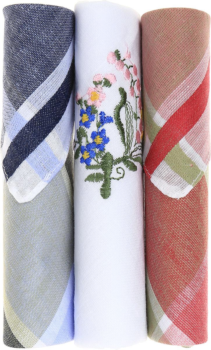 Платок носовой женский Zlata Korunka, цвет: зеленый, белый, красный, 3 шт. 40423-125. Размер 28 см х 28 см
