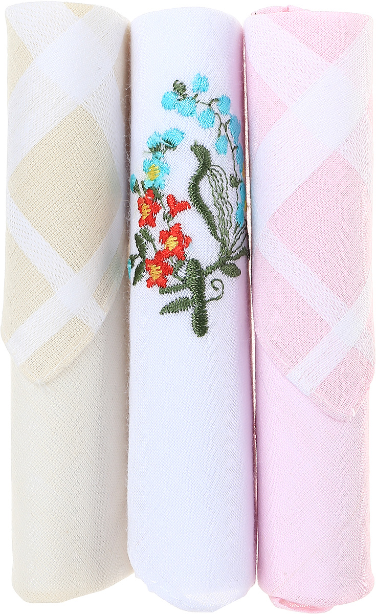 Платок носовой женский Zlata Korunka, цвет: розовый, белый, бежевый, 3 шт. 40423-130. Размер 28 см х 28 см