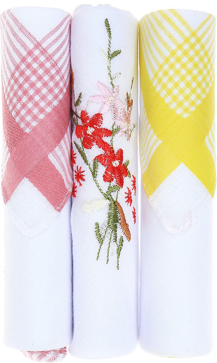 Платок носовой женский Zlata Korunka, цвет: розовый, белый, желтый, 3 шт. 40423-63. Размер 28 см х 28 см