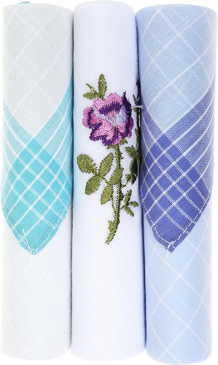 Платок носовой женский Zlata Korunka, цвет: бирюзовый, белый, голубой, 3 шт. 40423-90. Размер 28 см х 28 см