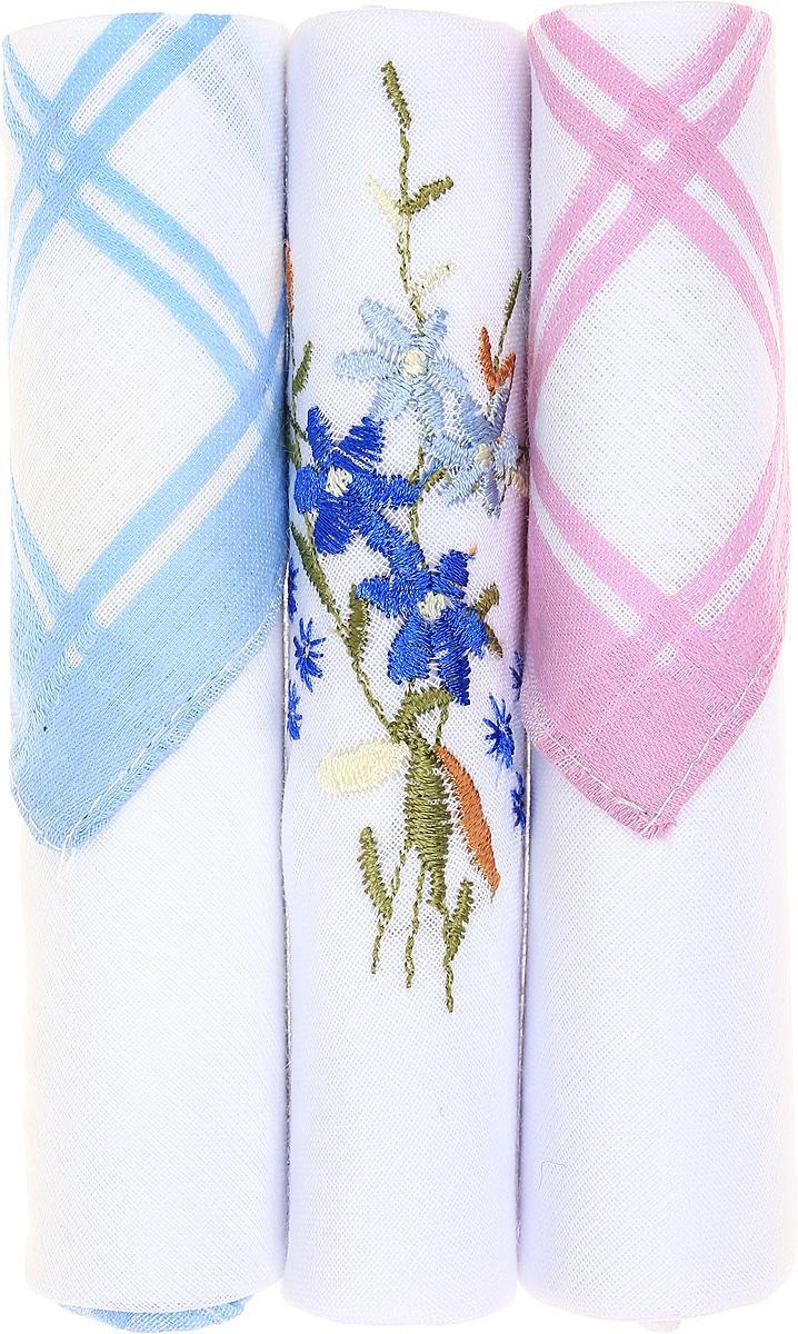 Платок носовой женский Zlata Korunka, цвет: голубой, белый, розовый, 3 шт. 40423-27. Размер 28 см х 28 см