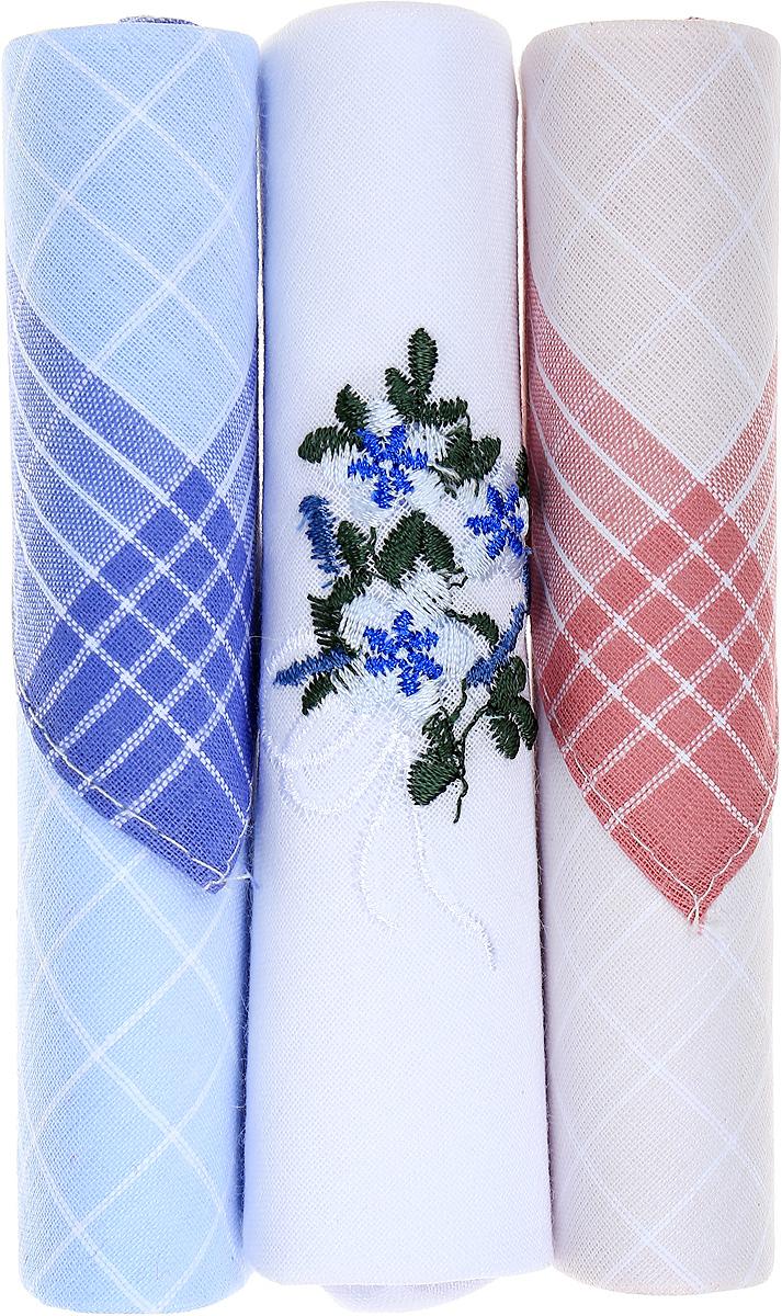 Платок носовой женский Zlata Korunka, цвет: голубой, белый, розовый, 3 шт. 40423-29. Размер 28 см х 28 см