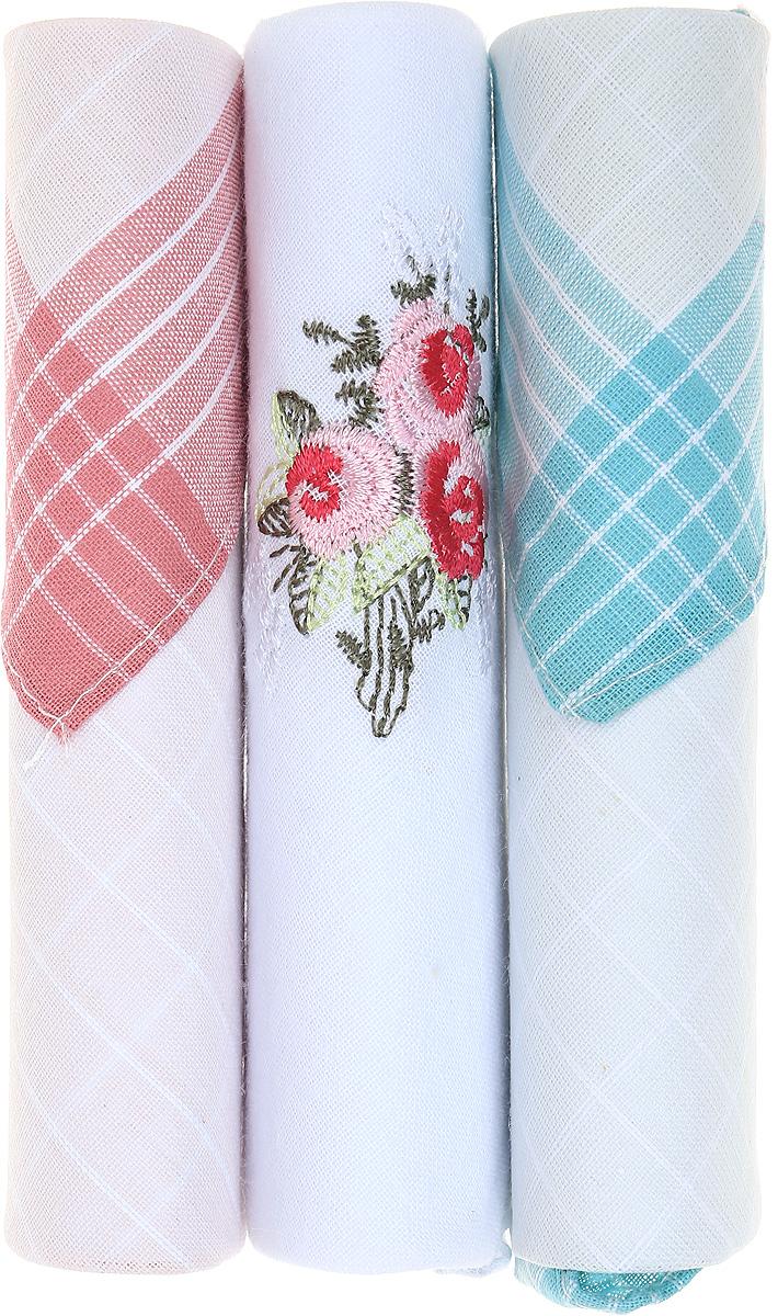 Платок носовой женский Zlata Korunka, цвет: розовый, белый, бирюзовый, 3 шт. 40423-18. Размер 28 см х 28 см