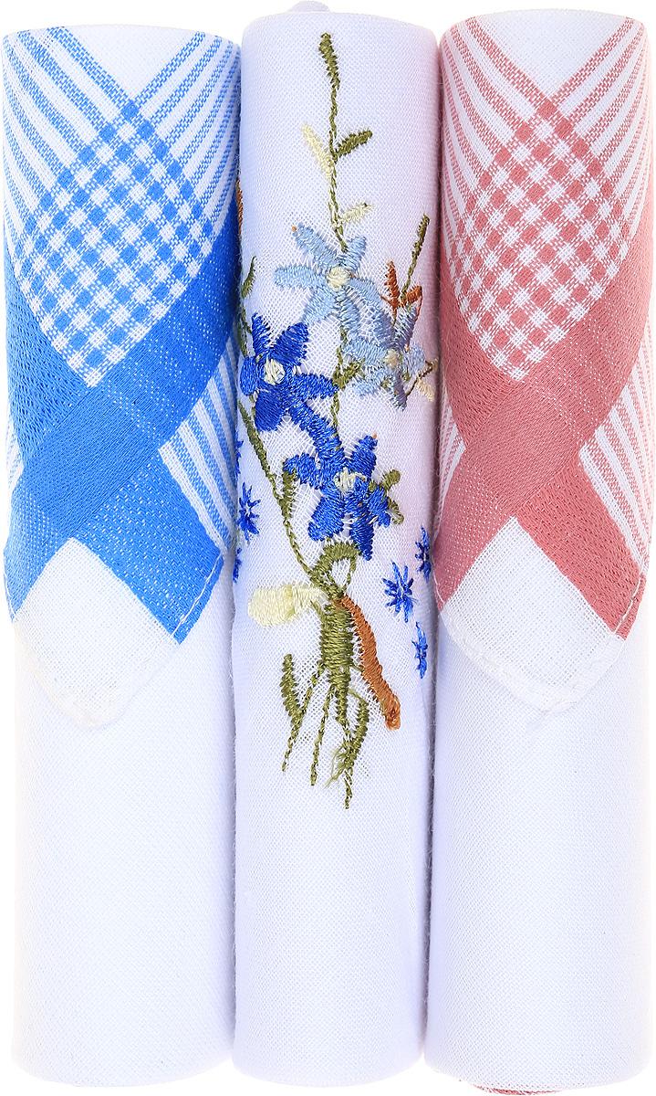 Платок носовой женский Zlata Korunka, цвет: голубой, белый, розовый, 3 шт. 40423-61. Размер 28 см х 28 см