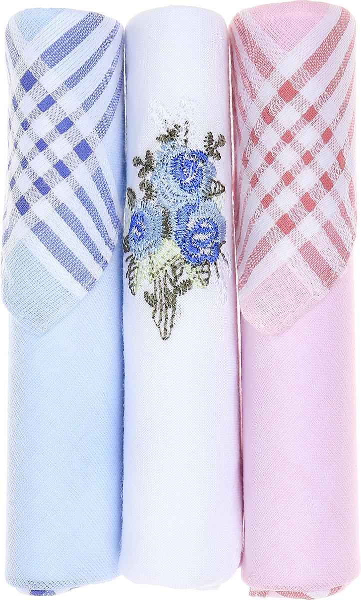 Платок носовой женский Zlata Korunka, цвет: голубой, белый, розовый, 3 шт. 40423-7. Размер 28 см х 28 см