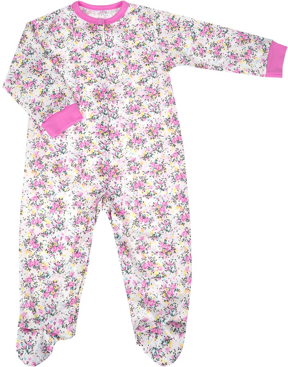 Комбинезон домашний для девочки Веселый малыш One, цвет: розовый. 51172/one-Букет. Размер 74 комбинезоны и полукомбинезоны веселый малыш комбинезон стрекоза 51172