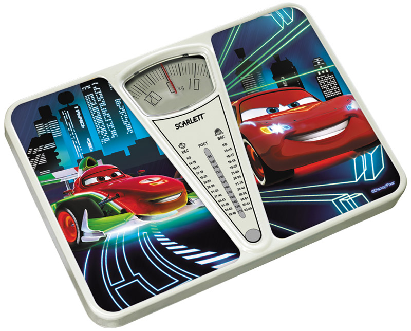Scarlett SC-BSD33M952 Cars весы напольные механическиеSC-BSD33M952Напольные весы Scarlett SC-BSD33M952 оборудованы ударопрочной пластиковой платформой с рисунком персонажа из диснеевского мультфильма Тачки. Максимальная нагрузка этих весов 130 кг. Также эта модель дополнена прорезиненными ножками для большей устойчивости.