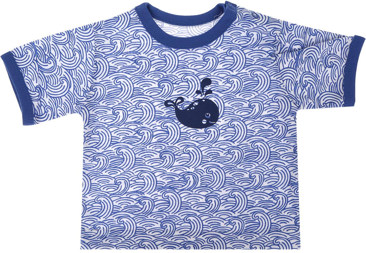 Футболка для мальчика Веселый малыш One, цвет: голубой. 67172/one-Кит. Размер 6867172_китФутболка для мальчика Веселый малыш выполнена из качественного материала. Модель с круглым вырезом горловины и короткими рукавами.