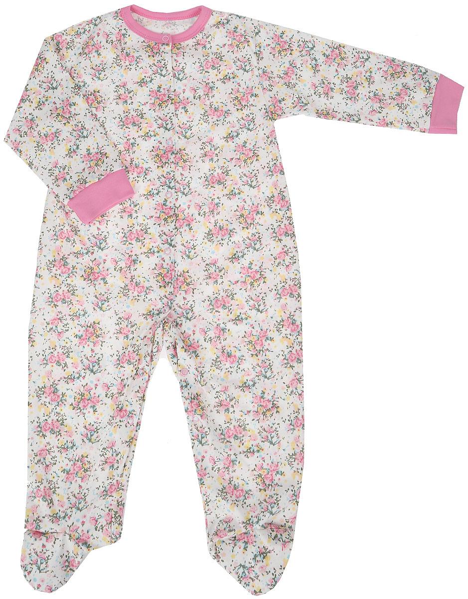 Комбинезон домашний для девочки Веселый малыш One, цвет: розовый. 51172/one-Букет. Размер 86 комбинезоны и полукомбинезоны веселый малыш комбинезон стрекоза 51172
