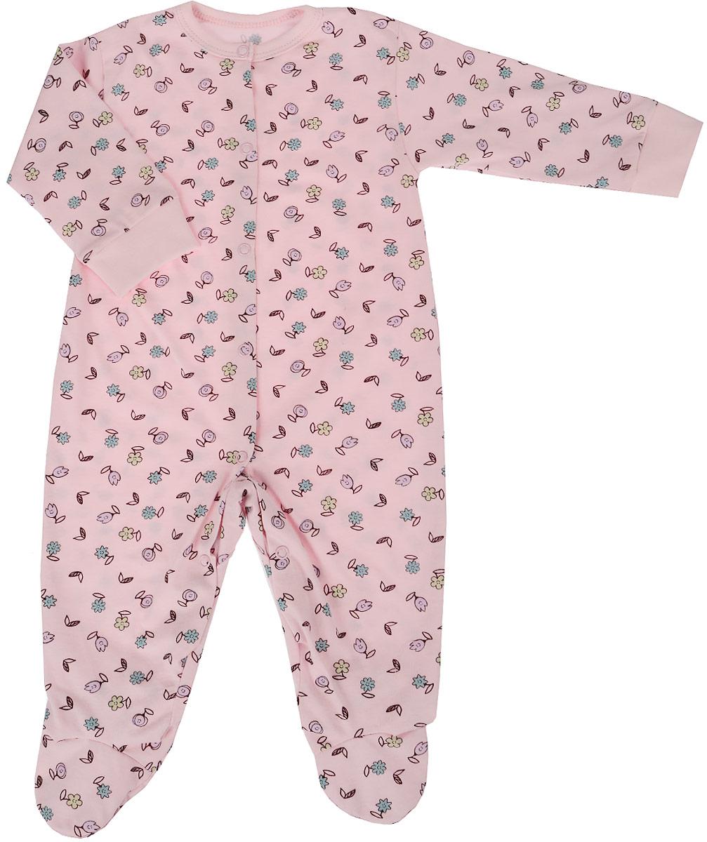 Комбинезон домашний для девочки Веселый малыш One, цвет: розовый. 51172/one-Забавные цветочки. Размер 86 комбинезоны и полукомбинезоны веселый малыш комбинезон олени 51142