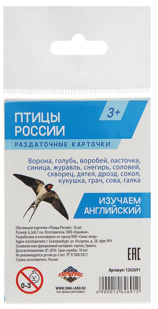 Лас Играс Обучающие карточки Птицы России улыбка обучающие карточки деревья россии