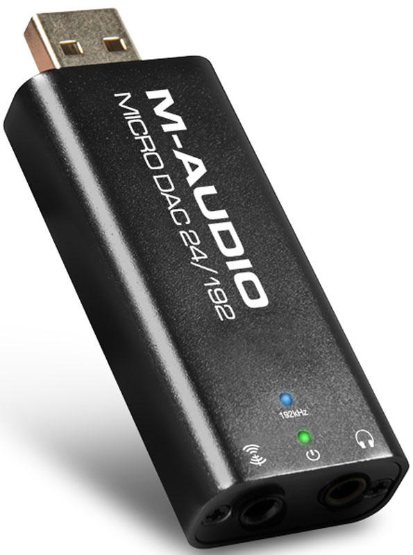 M-Audio Micro DAC 24/192 ЦАПMicro DAC 24/192Компактный ЦАП M-Audio Micro DAC 24/192 присоединяется к порту USB компьютера и не занимает полезную площадь на рабочем столе. Внешний блок питания не требуется – устройство получает необходимую энергию также через USB-соединение.M-Audio Micro DAC 24/192 поддерживает преобразование PCM-потока с параметрами до 24 бит / 192 кГц, что делает его подходящим для воспроизведения High-Res аудио. По своим параметрам данное устройство превосходит стандартный встроенный звуковой тракт настольных компьютеров и ноутбуков, и может использоваться для качественного прослушивания музыки.ЦАПоснащен аналоговым выходом на разъеме mini-jack для подключения наушников, а также цифровым оптическим выходом. Последний также представлен разъемом 3,5 мм, что обусловлено необходимостью сохранения компактных размеров устройства.Аналоговый разъем и USB-штекер имеют позолоченные поверхности для более стабильного электрического соединения. Устройство изготовлено с применением SMD-компонентов, что позволило минимизировать влияние на передаваемый сигнал внешних помех.