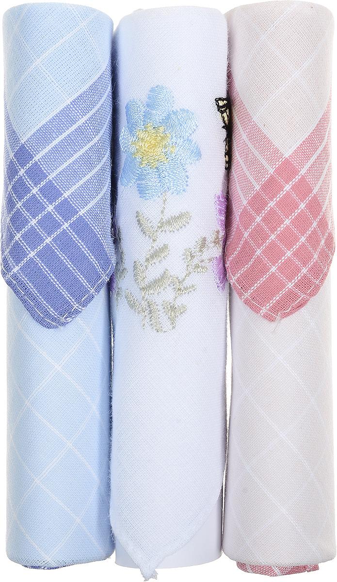 Платок носовой женский Zlata Korunka, цвет: голубой, белый, розовый, 3 шт. 40423-108. Размер 28 см х 28 см