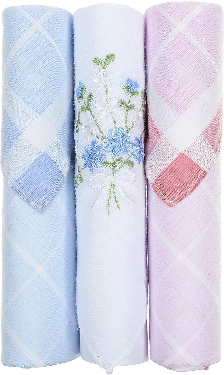 Платок носовой женский Zlata Korunka, цвет: голубой, белый, розовый, 3 шт. 40423-74. Размер 28 см х 28 см