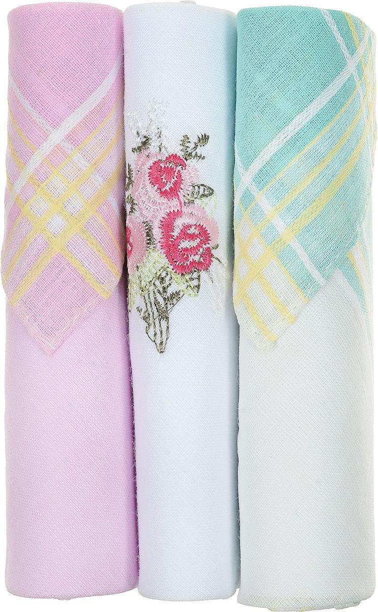 Платок носовой женский Zlata Korunka, цвет: розовый, белый, бирюзовый, 3 шт. 40423-58. Размер 28 см х 28 см