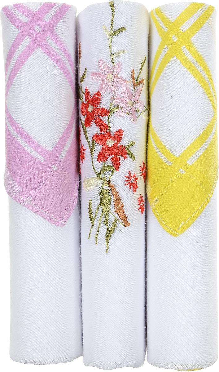 Платок носовой женский Zlata Korunka, цвет: розовый, белый, желтый, 3 шт. 40423-25. Размер 28 см х 28 см