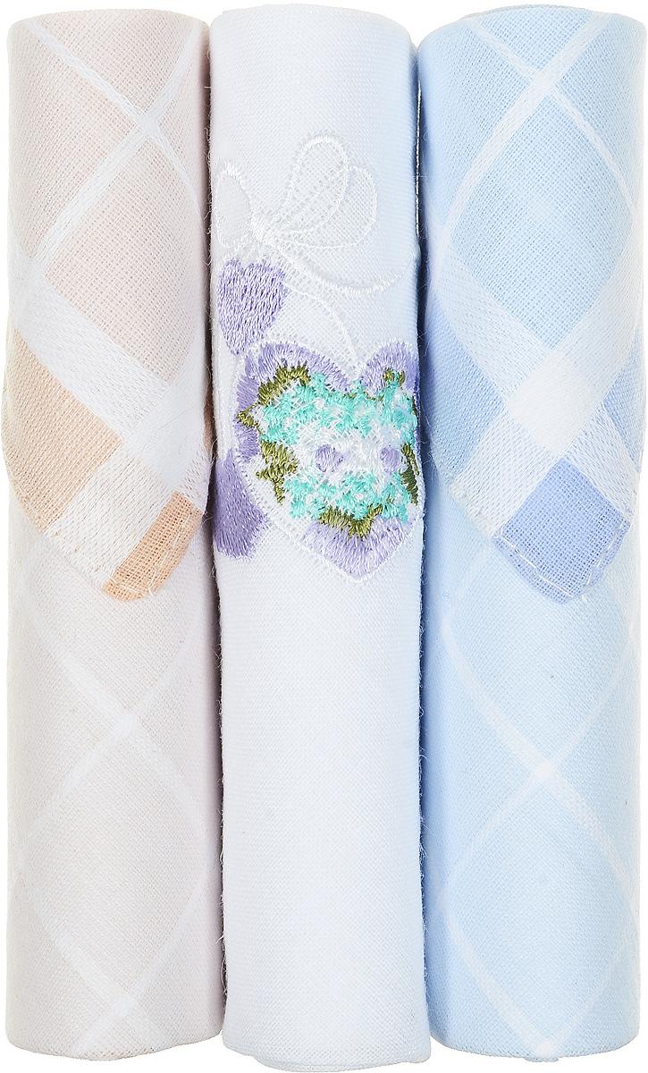 Платок носовой женский Zlata Korunka, цвет: бежевый, белый, голубой, 3 шт. 40423-15. Размер 28 см х 28 см