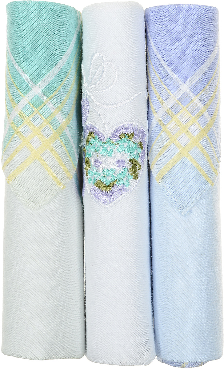 Платок носовой женский Zlata Korunka, цвет: бирюзовый, белый, голубой, 3 шт. 40423-1. Размер 28 см х 28 см
