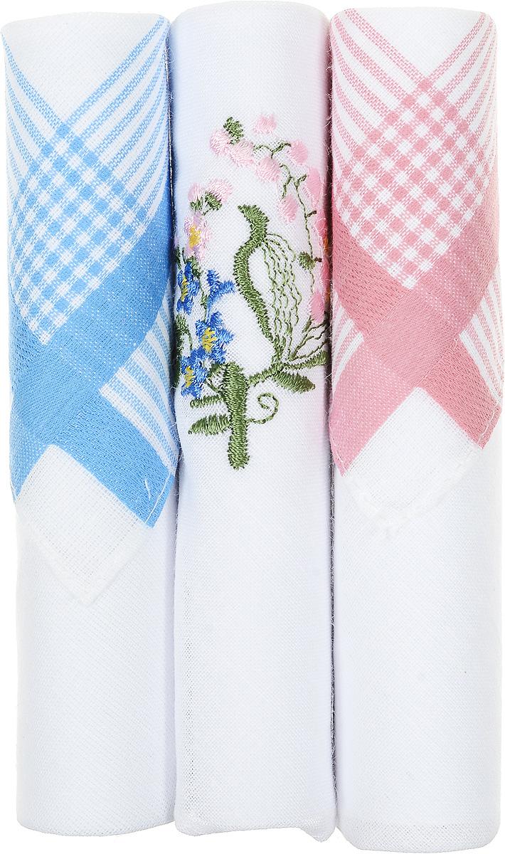 Платок носовой женский Zlata Korunka, цвет: голубой, белый, розовый, 3 шт. 40423-80. Размер 28 см х 28 см