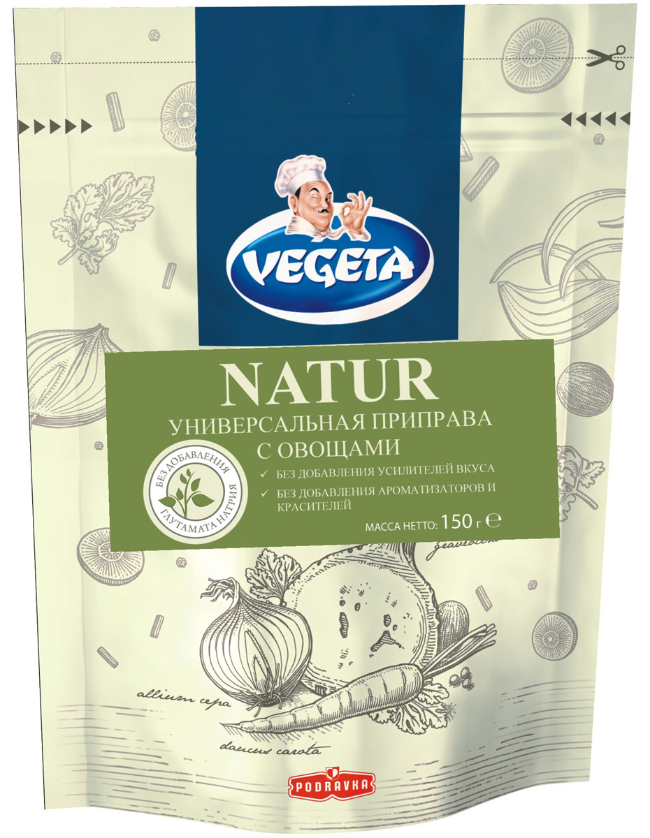 Vegeta Natur универсальная приправа с овощами, 150 г3110301Универсальная приправа с овощами Vegeta Natur - это результат отличного сотрудничества природы и высоких технологий.Тайна кроется в большом количестве овощей: для производства 150 г продукта необходимо использовать целых 450 г свежих овощей. Приправа не содержит ни усилителей вкуса, ни ароматизаторов, ни красителей, а своим богатым вкусом обязана блестящей комбинации сушеных овощей и отборных специй!