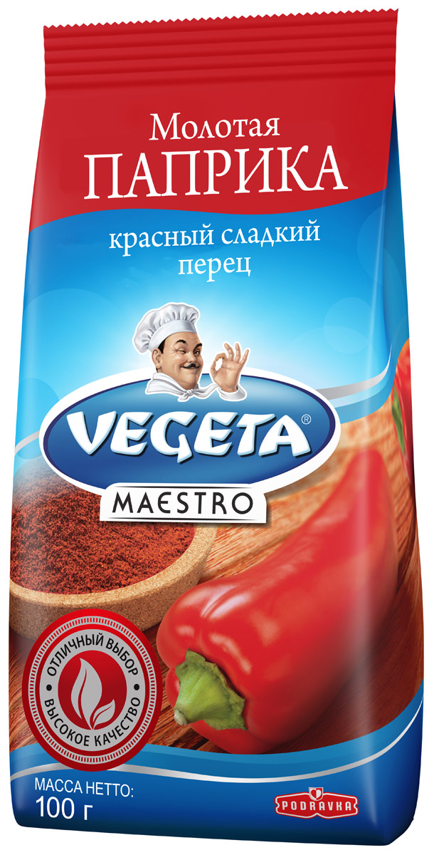 Podravka Паприка молотая сладкая, 100 г291001Красный сладкий перец от Podravka, смолотый в порошок с почти шелковой текстурой, с легкостью найдет себе место в любом блюде. Нет такого овощного блюда, гуляша, мяса, блюда из риса, соуса или блюда с творогом или сыром, чей вкус можно назвать полным, если в него не добавлена эта супер-пряность. Кроме приятного сладковатого аромата, столь же важен и узнаваем ярко красный цвет этого продукта, которым он обогащает все блюда: рядом с ним все другие специи и пряности краснеют от зависти! 100% натуральный продукт.Уважаемые клиенты! Обращаем ваше внимание на то, что упаковка может иметь несколько видов дизайна. Поставка осуществляется в зависимости от наличия на складе.Приправы для 7 видов блюд: от мяса до десерта. Статья OZON Гид