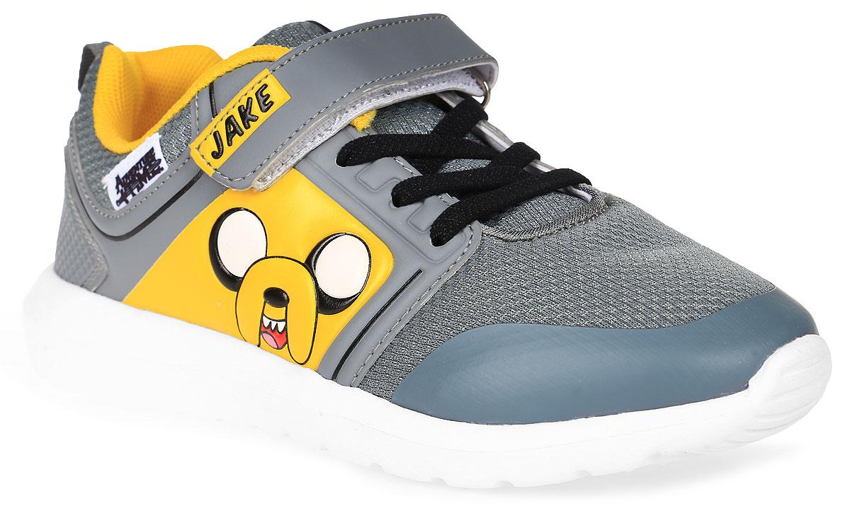 Кроссовки для мальчика Kakadu Adventure Time, цвет: серый, желтый. 6770B. Размер 336770BСтильные кроссовки Adventure Timeот Kakadu - отличный выбор для вашего мальчика на каждый день. Верх модели выполнен из синтетической кожи и текстиля. Кроссовки оформлены красочным принтом с изображением персонажа мультсериала Время приключений.Ремешок с застежкой-липучкой и шнуровка обеспечивают надежную фиксацию обуви на ноге. Подкладка из текстильного материала обеспечивает комфорт при носке. Съемная анатомическая стелька удобна в эксплуатации и позволяет быстро просушивать обувь. Облегченная подошва выполнена из ЭВА-материала.Рифление на подошве обеспечивает отличное сцепление с любой поверхностью.Модные и комфортные кроссовки - необходимая вещь в гардеробе каждого ребенка.