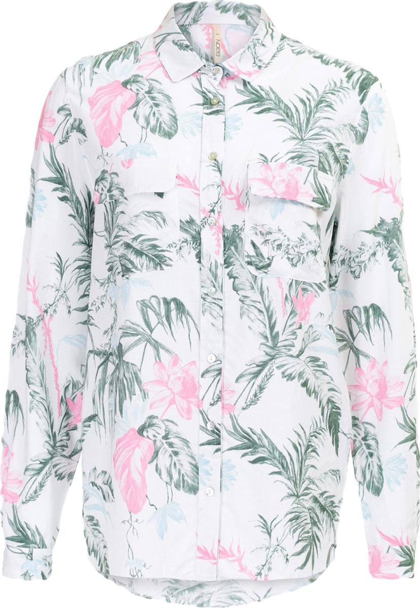 Блузка женская Baon, цвет: белый. B177027_Milk Printed. Размер S (44)B177027_Milk PrintedБлузка женская Baon выполнена из вискозы. Модель с отложным воротником и длинными рукавами застегивается на пуговицы.