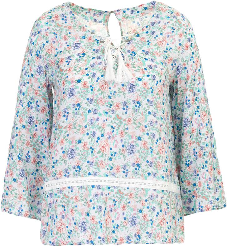 Блузка женская Baon, цвет: серый. B177045_Barely Grey Printed. Размер M (46)B177045_Barely Grey PrintedБлузка женская Baon выполнена из вискозы. Передняя часть блузки украшена модной деталью - шнуровкой. На спине расположена застёжка на пуговицу.