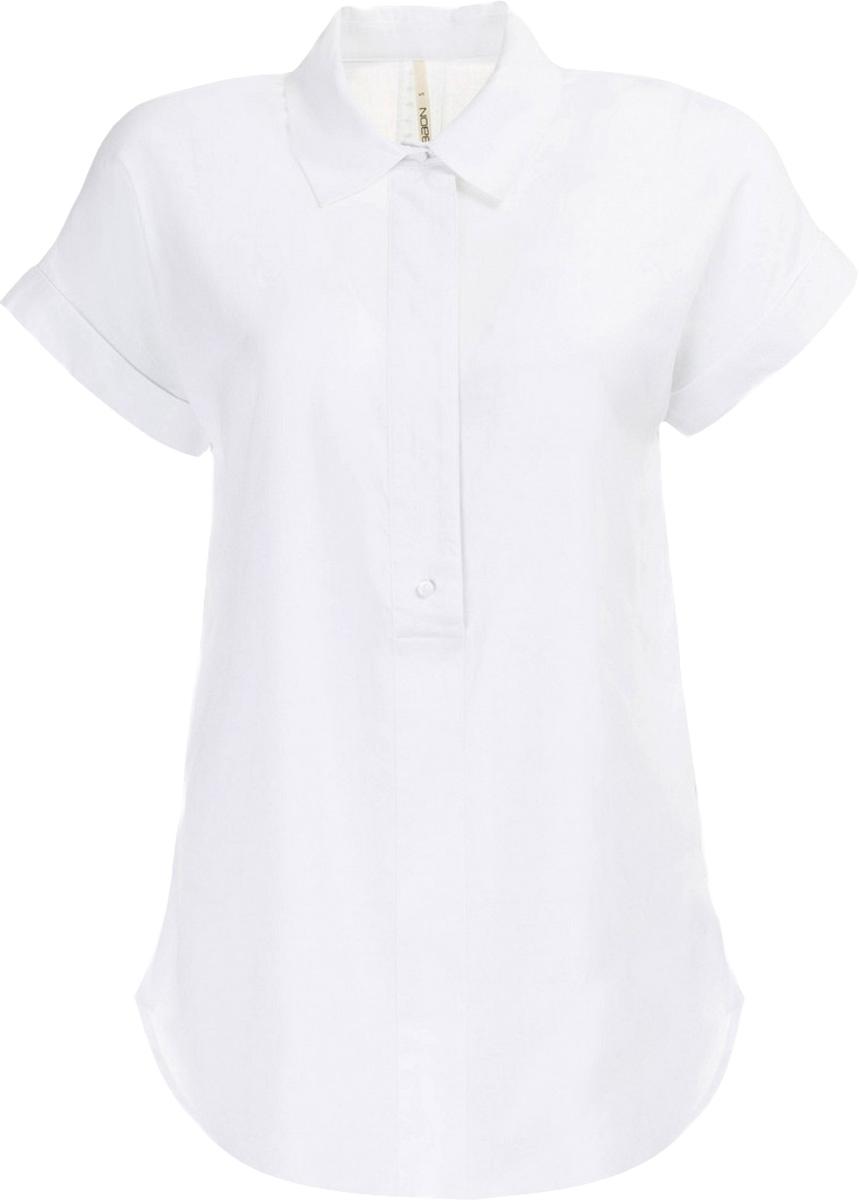 Блузка женская Baon, цвет: белый. B197011_White. Размер M (46)B197011_WhiteБлузка женская Baon выполнена из вискозы и льна. Модель с отложным воротником и короткими рукавами.