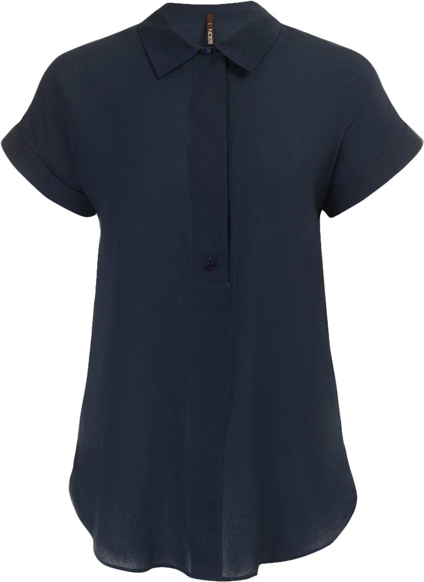 Блузка женская Baon, цвет: темно-синий. B197011_Dark Navy. Размер M (46)B197011_Dark NavyБлузка женская Baon выполнена из вискозы и льна. Модель с отложным воротником и короткими рукавами.