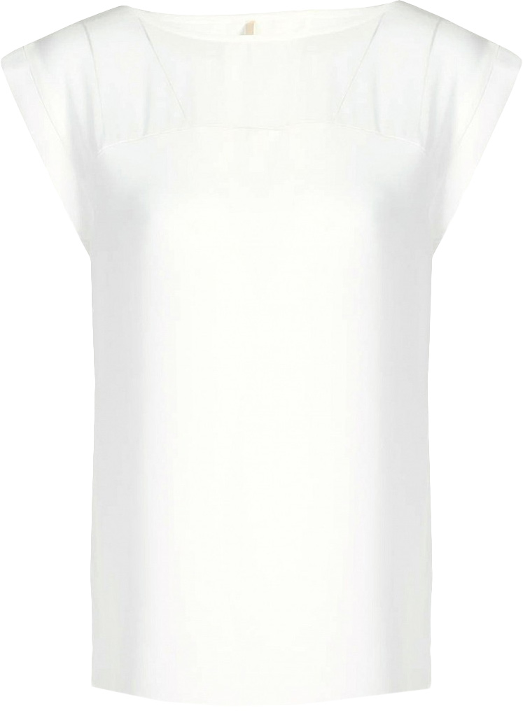 Блузка женская Baon, цвет: белый. B197036_Milk. Размер S (44)B197036_MilkБлузка женская Baon выполнена из полиэстера. Модель с цельнокроеными рукавами и круглым вырезом горловины.