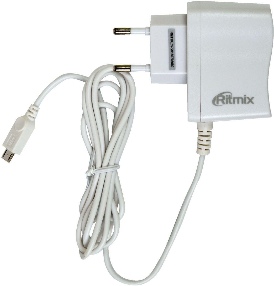 Ritmix RM-110, White сетевое зарядное устройство15118260(ECO AC) 1A, 1 x micro USB сетевое зарядное устройство, интерфейс micro USB, напряжение (вход) 100-240V AC, ток (вход) 0,15А, напряжение (выход) 5V DC, ток заряда 1000 мА