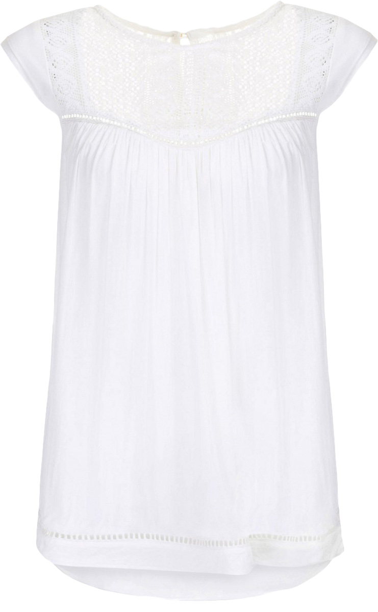 Блузка женская Baon, цвет: белый. B197055_Milk. Размер S (44)B197055_MilkБлузка женская Baon выполнена из вискозы. Модель с круглым вырезом горловины и короткимирукавами сзади застегивается на пуговицу.