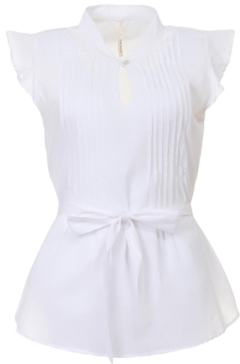 Блузка женская Baon, цвет: белый. B197062_White. Размер L (48)B197062_WhiteБлузка женская Baon выполнена из натурального хлопка. Модель украшена завязывающимся поясом. Воротник застёгивается на пуговицу. Вдоль выреза горловины расположены продольные складки-защипы.