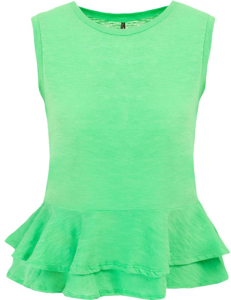 Блузка женская Baon, цвет: зеленый. B237033_Bright Green. Размер S (44)B237033_Bright GreenБлузка женская Baon выполнена из натурального хлопка. Модель с круглым вырезом горловины понизу оформлена оборками.