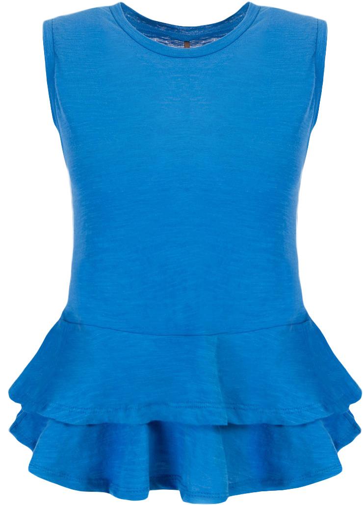 Блузка женская Baon, цвет: синий. B237033_Larkspur. Размер XS (42)B237033_LarkspurБлузка женская Baon выполнена из натурального хлопка. Модель с круглым вырезом горловины понизу оформлена оборками.