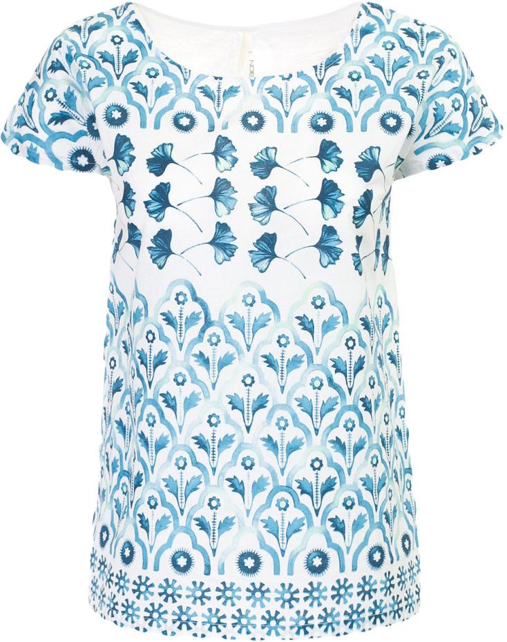 Футболка женская Baon, цвет: белый. B237047_White Printed. Размер S (44)B237047_White PrintedФутболка женская Baon выполнена из вискозы и хлопка. Модель с круглым вырезом горловины и короткими рукавами.