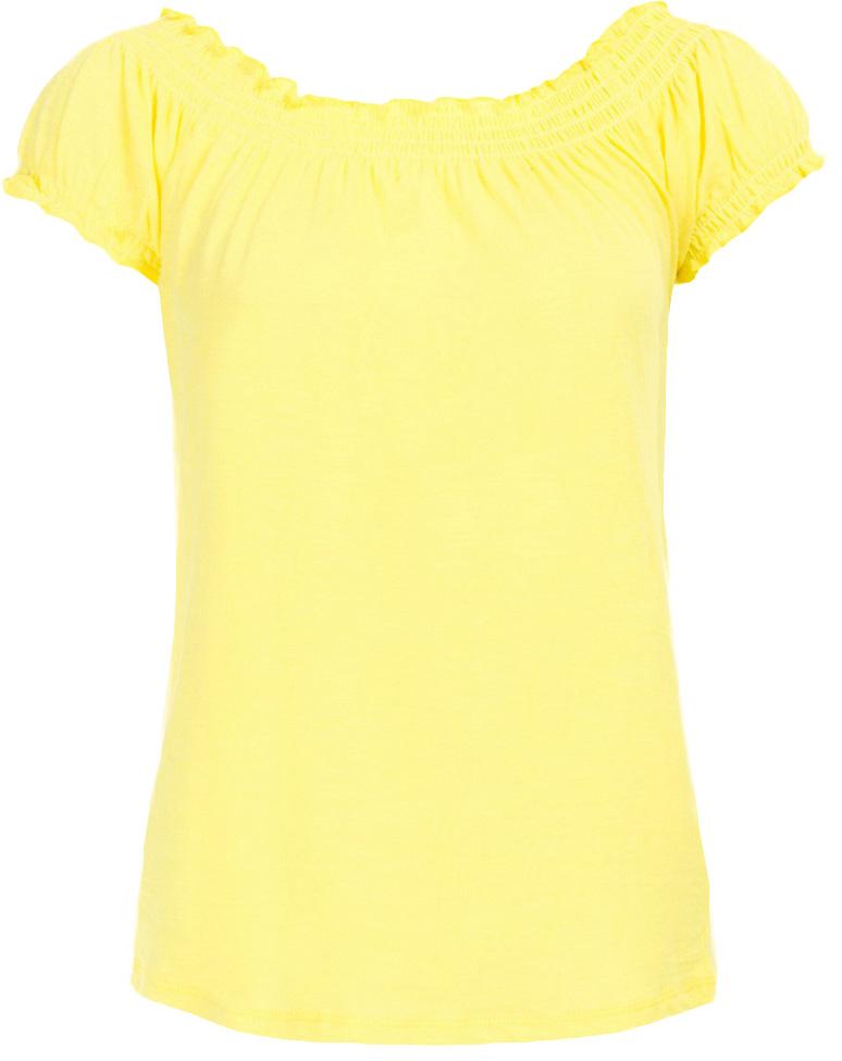 Футболка женская Baon, цвет: желтый. B237050_Bright Yellow. Размер M (46)B237050_Bright YellowФутболка женская Baon выполнена из натурального хлопка. Модель с воротником лодочкой и короткими рукавами.