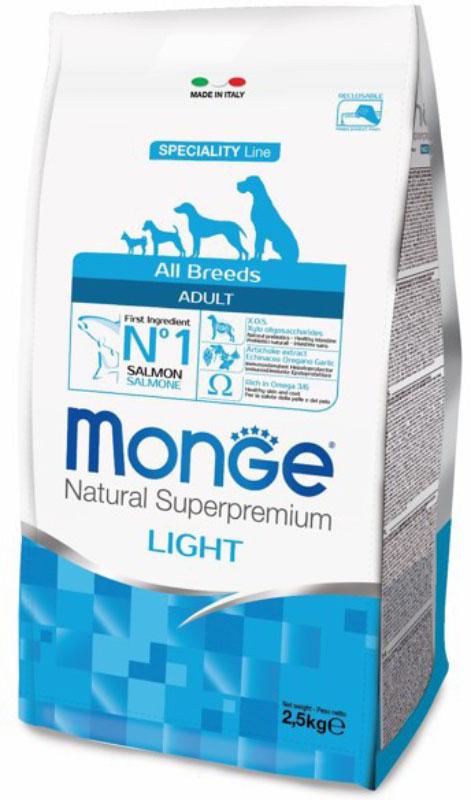 Корм сухой Monge Dog Speciality Light для собак всех пород, низкокалорийный, с лососем и рисом, 2,5 кг70011228Корм сухой Monge Dog Speciality Light - низкокалорийный полнорационный корм для взрослых собак всех пород с особыми потребностями. Разработан на основе лосося северного моря, богат омега-3 и омега-6 жирными кислотами, которые позволяют предупредить воспалительные процессы и сохранить здоровье кожи и шерсти вашего питомца.Лосось и рис гарантируют правильное усвоение белков и углеводов. Корм прекрасно подходит для собак с проблемами пищеварения и кожными заболеваниями. Данный продукт предназначен для собак с заболеваниями кожи, такими, как дерматит, перхоть, зуд, а также для собак со светлой шерстью. Глюкозамин, хондроитин и МСМ благотворно влияют на здоровье всего костного аппарата, помогают предотвратить возникновение болезней суставов.Анализ компонентов: сырой белок 24,00%, сырые масла и жиры 12,00%, сырая клетчатка 2,50%, сырая зола 6,00%, кальций 1,40%, фосфор 0,90%, омега-6 жирные кислоты 3,50%, омега-3 жирные кислоты 0,70%.Пищевые добавки/кг: витамин А 24000 МЕ, витамин D3 1400 МЕ, витамин Е 190 мг, витамин В1 13 мг, витамин В2 16 мг, витамин В6 7 мг, витамин В12 145 мг, биотин 20 мг, ниацин 90 мг, витамин С 200 мг, пантотеновая кислота 20 мг, фолиевая кислота 2,30 мг, холина хлорид 3500 мг, инозитол 3,60 мг, Е5 сульфат марганца моногидрат 42 мг, Е6 оксид цинка 190 мг, Е4 сульфат меди пентагидрат 20 мг, Е1 сульфат железа моногидрат 100 мг, Е8 селенит натрия 0,40 мг, Е2 йодат кальция 3,80 мг, L-карнитин 120 мг, DL-метионин 1,6г. Технологические добавки/кг: натуральная смесь из токоферола и экстракта розмарина обыкновенного. Органолептические добавки/кг: натуральный экстракт каштана 20 мг, экстракт артишока 300 мг.Энергетическая ценность: 3 950 ккал/кг. Состав: рыба (26% дегидрированного и 10% свежего лосося), рис, кукуруза, сухая свекольная пульпа, пивные дрожжи (источник МОС и витамина B12), гидролизованный белок рыбы, рыбий жир (лососевый жир, консерви