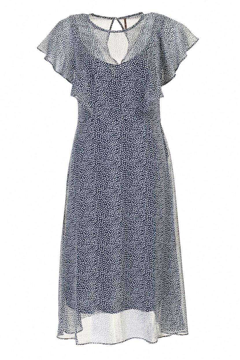 Платье Baon, цвет: синий. B457035_Dark Navy Printed. Размер M (46)B457035_Dark Navy PrintedПлатье Baon выполнено из полиэстера. Изделие имеет актуальные рукава-воланы. На спине расположена застёжка на пуговицу.
