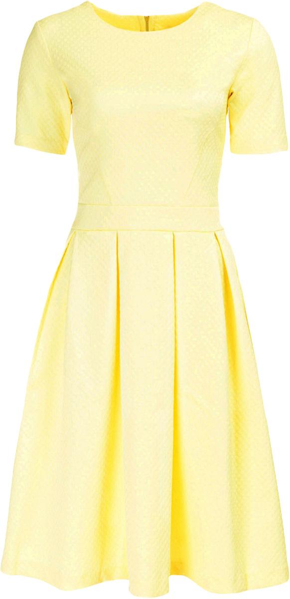 Платье Baon, цвет: желтый. B457040_Cold Butter Jacquard. Размер M (46)B457040_Cold Butter JacquardПлатье Baon выполнено из комбинированного материала. Модель с круглым вырезом горловины и короткими рукавами сзади застегивается на застежку-молнию.