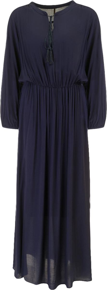 Платье Baon, цвет: темнно-синий. B457048_Dark Navy. Размер L (48)B457048_Dark NavyПлатье Baon выполнено из вискозы. Модель с круглым вырезом горловины и длинными рукавами.