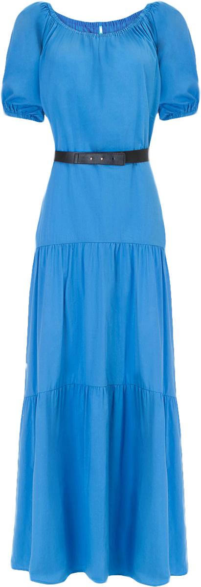Платье Baon, цвет: синий. B457053_Larkspur. Размер XL (50)B457053_LarkspurПлатье Baon выполнено из хлопка, эластана и полиамида. Эластичная вставка в верхней части изделия позволит вам носить платье несколькими способами, в том числе, и с актуально открытыми плечами. Приталенный силуэт можно создать при помощи пояса из искусственной кожи.