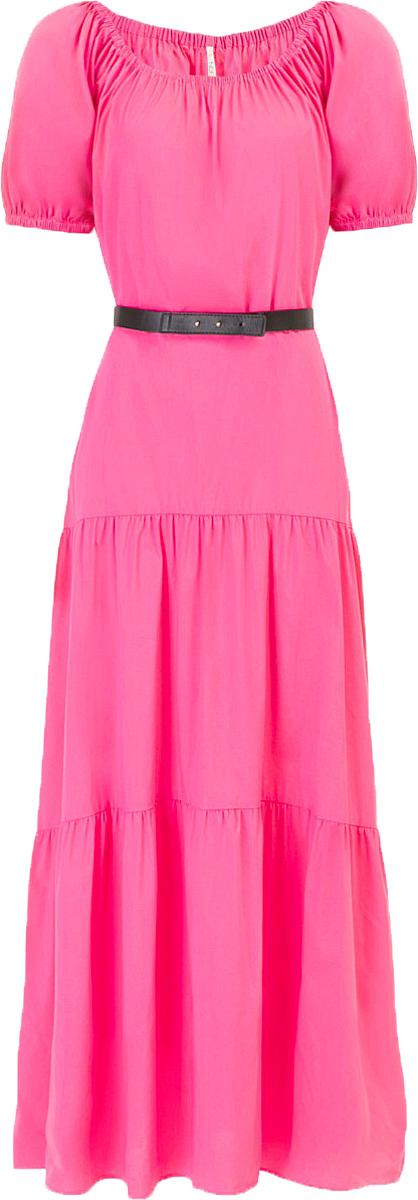 Платье Baon, цвет: розовый. B457053_Pale Magenta. Размер M (46)B457053_Pale MagentaПлатье Baon выполнено из хлопка, эластана и полиамида. Эластичная вставка в верхней части изделия позволит вам носить платье несколькими способами, в том числе, и с актуально открытыми плечами. Приталенный силуэт можно создать при помощи пояса из искусственной кожи.