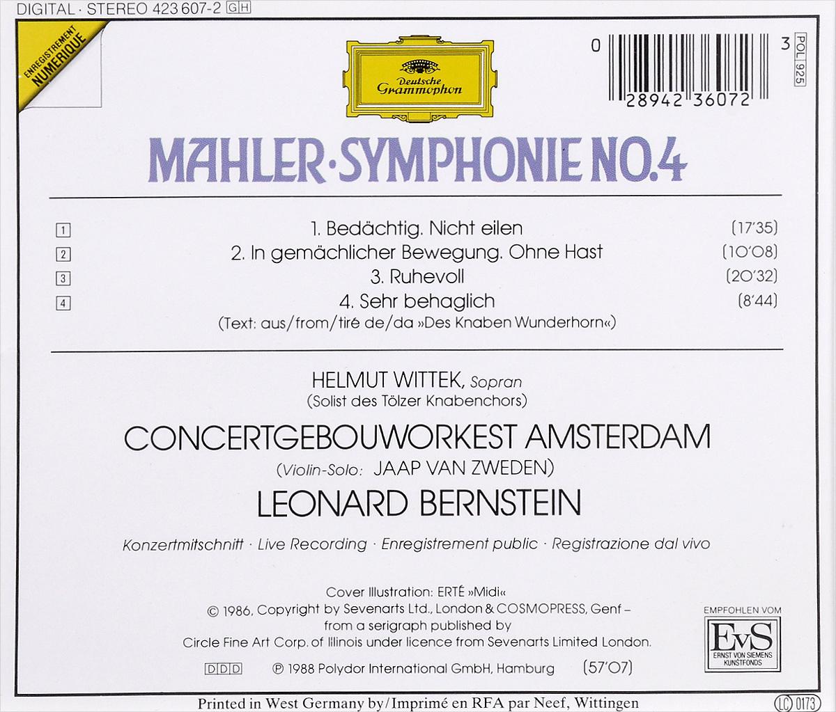 Concertgebouworkest Amsterdam, Leonard Bernstein.  Mahler.  Symphony No.  4 Deutsche Grammophon GmbH,ООО
