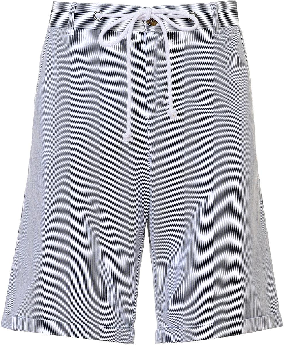 Шорты мужские Baon, цвет: синий. B827001_Deep Navy Striped. Размер M (48)B827001_Deep Navy StripedШорты мужские Baon выполнены из хлопка. Модель дополнена затягивающимся шнурком идополнительно застегивается на пуговицу.