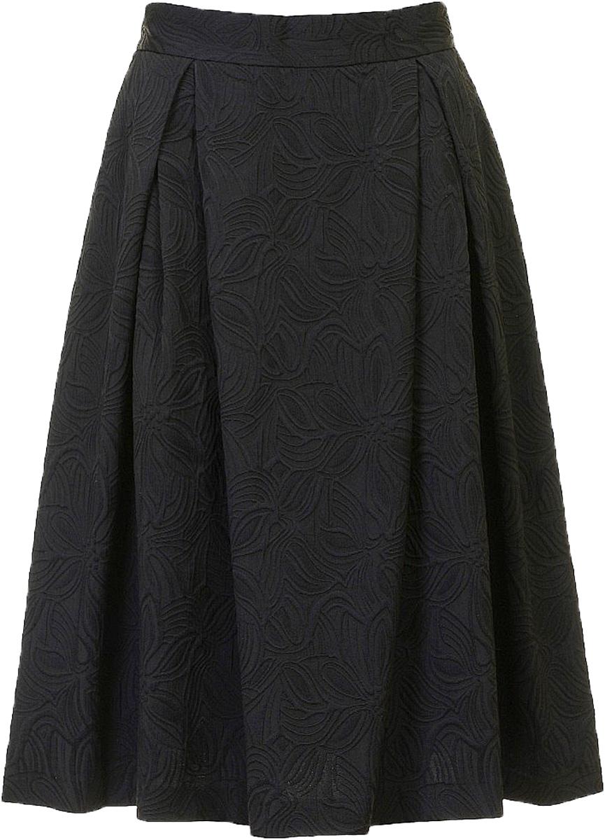 Юбка женская Baon, цвет: черный. B477027_Black Jacquard. Размер L (48)B477027_Black JacquardЮбка женская Baon выполнена из полиэстера, хлопка и эластана. Модель оформлена оригинальным принтом.